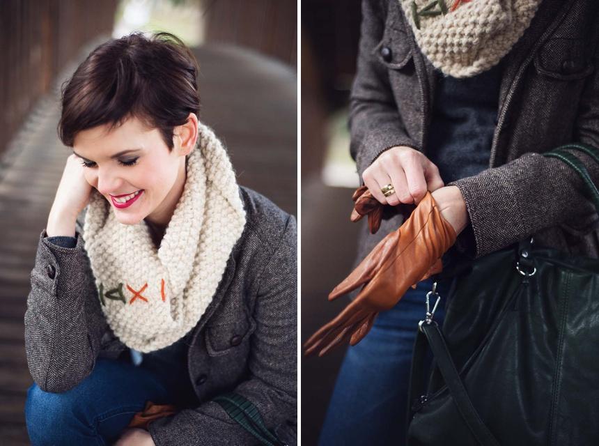 Ein neuer Pixie Cut Haarschnitt kombiniert mit schöner Wintermode und Strickelementen