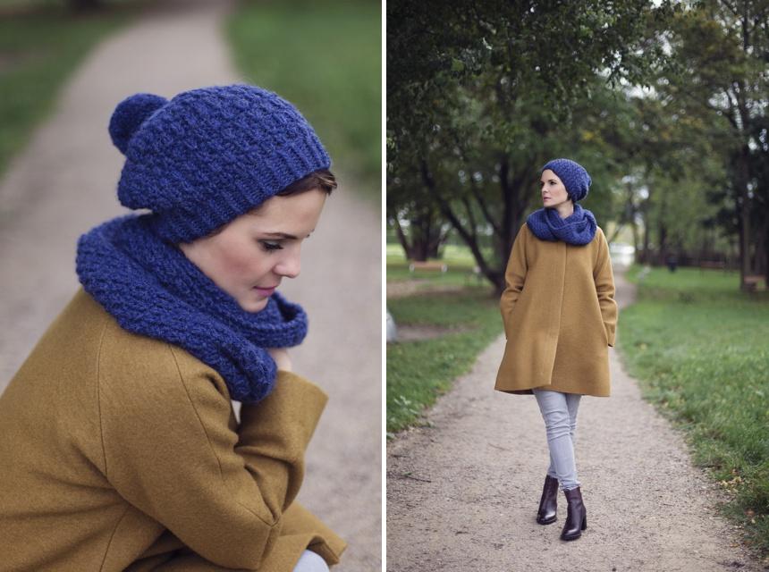 Fashion Posting Wiener Wohnsinn, Cos Coat, Amjas Strickset in Blau, Beanie and Loop Scarf