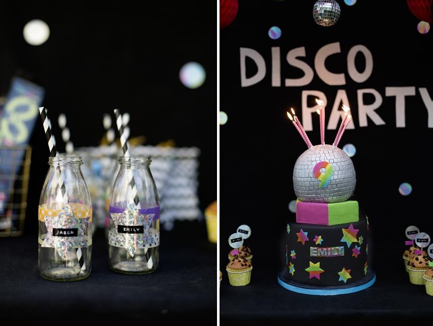 Milchglasfläschchen DIY  , Klebefolien, Discoparty Kindergeburtstag Wiener Wohnsinn