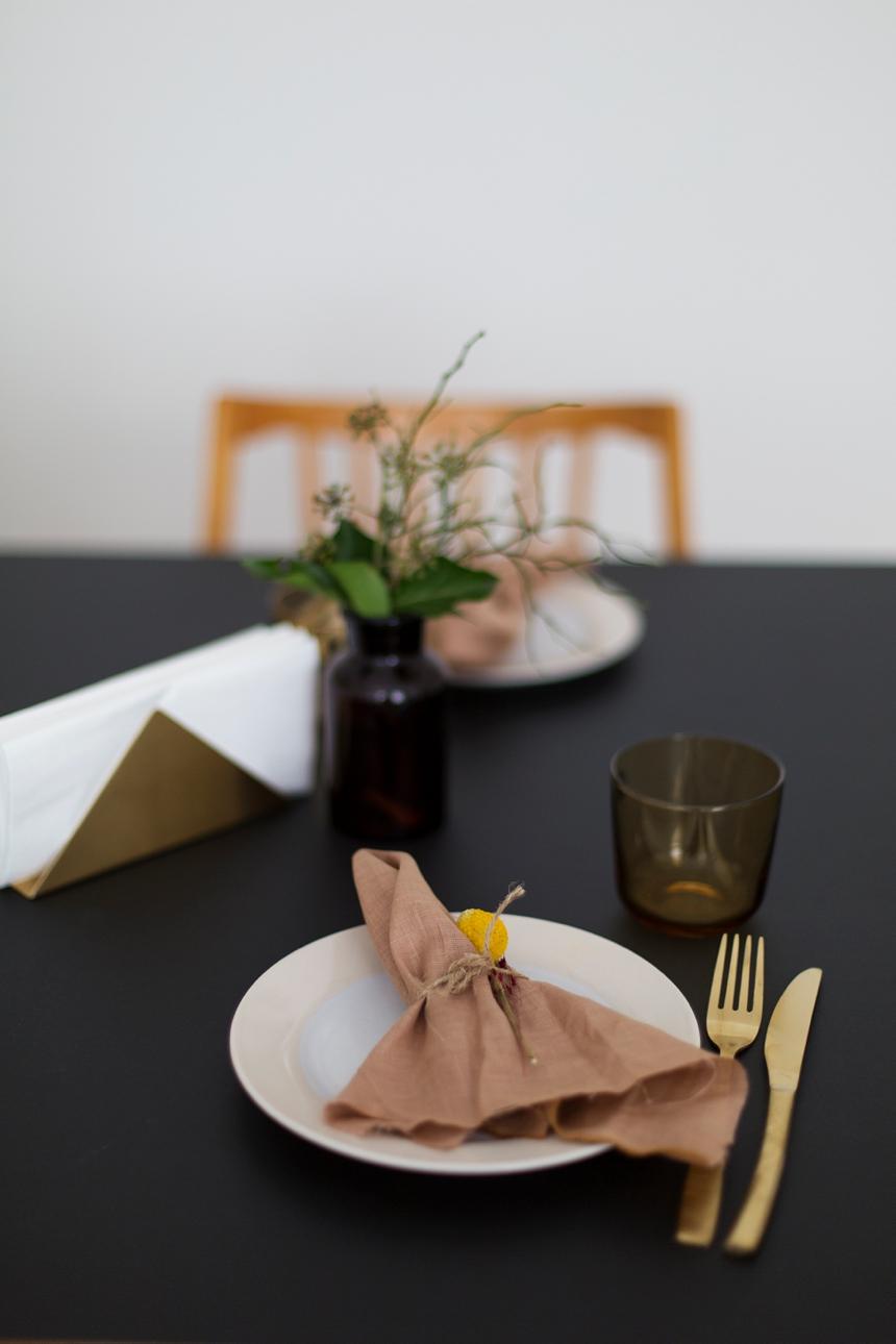 harmonische Tischdeko - warmer lowcarb Linsensalat