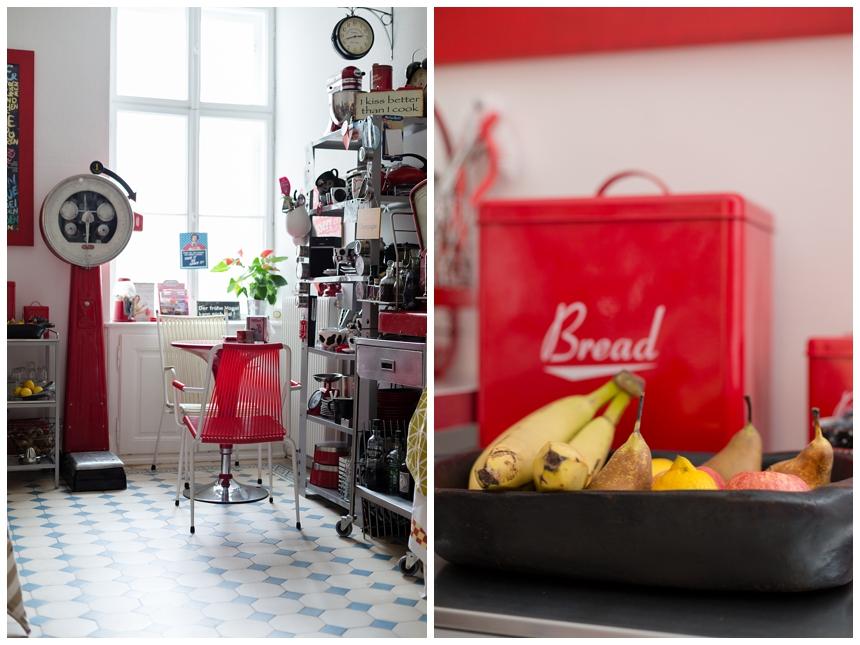 rote Designer Küche  - Vintage Küche