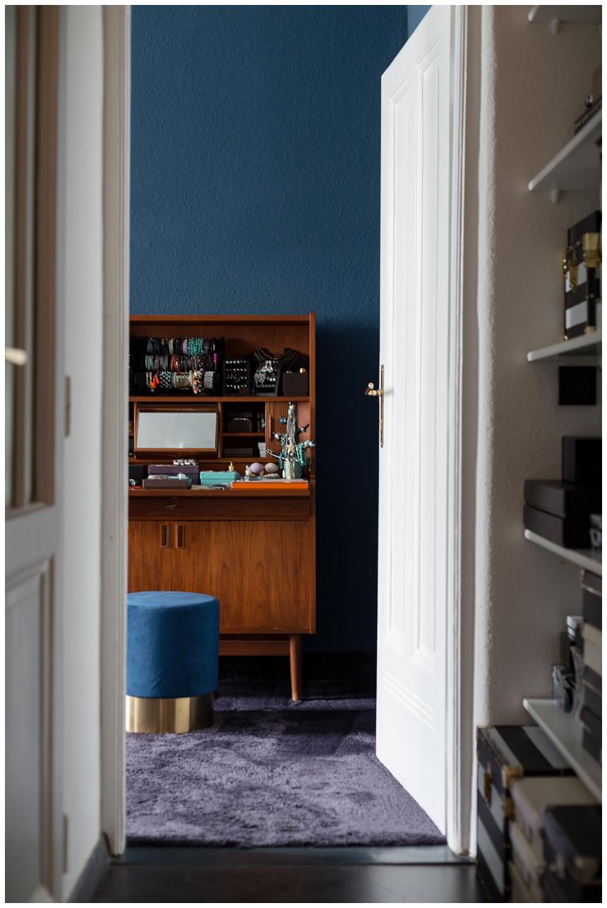 Schlafzimmer blau , Vintage Möbel, Schminktisch