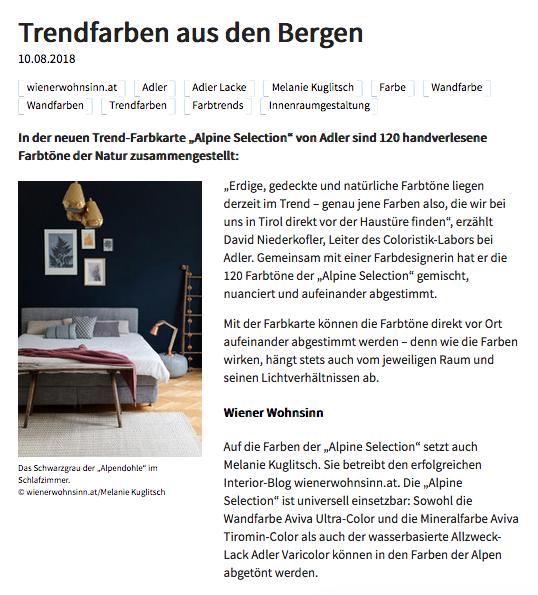 Artikel über Trendfarben von Melanie Kuglitsch