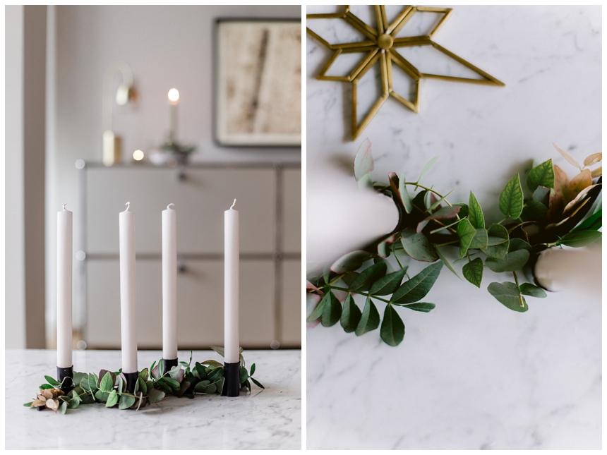 puristisches Adventsgesteck , Weihnachten , DIY Idee von Wiener Wohnsinn