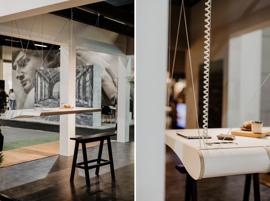 Floating Office Desk NOLEX , innovatives Design, der schwebende Schreibtisch , platzsparend für urbanes Wohnen, imm cologne 2020 © Wiener Wohnsinn